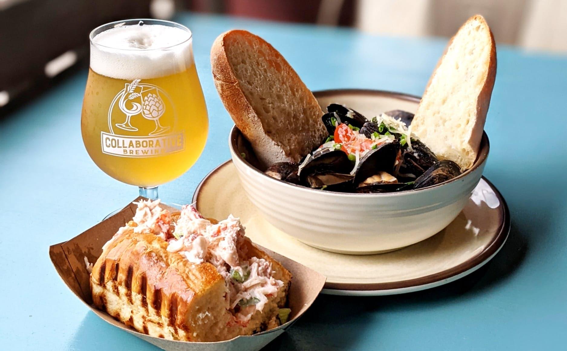 lobster roll, beer, mussels